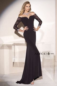 Alyce Black Label 5681 Form Fitting Jersey Gown-This stunning form fitting  jersey floor length formal gown has an elegant illusion portrait neckline 1ca0f53f008a