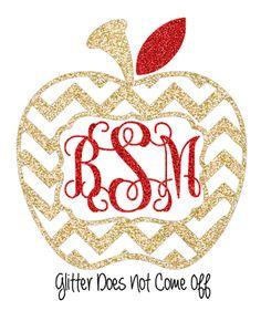 Glitter Chevron Apple Monogram Car Decal Window Sticker Teacher Gift