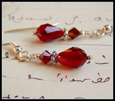 Dark Red Crystal Earrings  Winter Holiday by acottagehearth