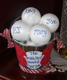 INDOOR SNOWBALL FIGHT -   Personalized Family Snowball Fight Team Decoration