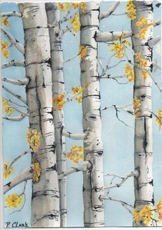 Birch Tree Art Birch Trees-Watercolor All Things Art Drawing Artist, Painting & Drawing, Drawing Trees, Diy Painting, Tree Drawings, Watercolor Trees, Watercolor Paintings, Watercolors, Watercolor Water