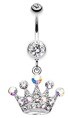 Crown Jewel Multi-Gem Belly Button Ring - 14 GA (1.6mm) -...