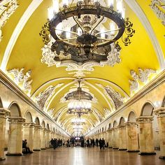 Insane! Moscow Subway  http://www.travelandtransitions.com/destinations/destination-advice/europe/travel-moscow-discover-the-red-square-st-basils-cathedral-the-kremlin-and-much-more/