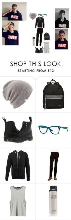 """Elliot outfit in my wattpad story"" by alannahzoe on Polyvore featuring Coal, NIKE, Dr. Martens, Ray-Ban, Topman, Bugatti, Calvin Klein, men's fashion and menswear"