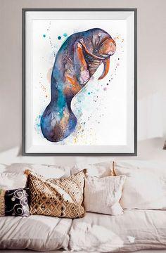 Manatee watercolor painting print, Manatee art, SEA ART, animal watercolor…