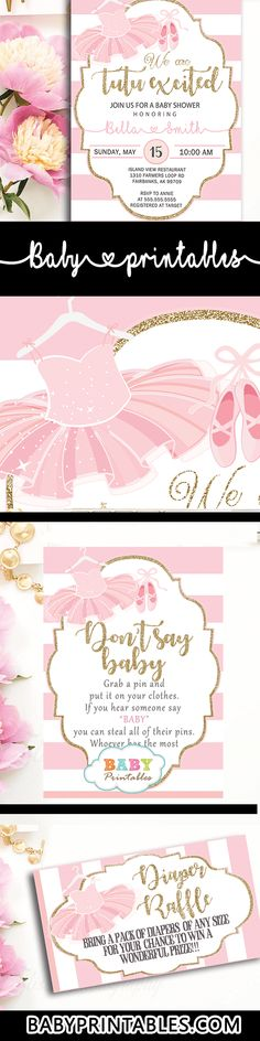Celebrate the upcoming birth of your little ballerina girl with these adorable tutu baby shower decorations and invitations. #tutu #ballerina #babyshowerinvitations #babyshowerideas