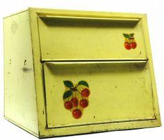 Vintage TIN BREAD BOX Retro Yellow LITHO Cherry Graphic 2-TIER Flip Lid 12x13x12