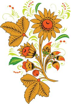 Folk Khokhloma painting from Russia. Floral pattern with berries. #art #folk…