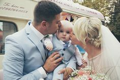 Bride, groom kissing their adorable baby boy son - Tara & Jack Wedding - More in the blog! by Ana Gely A. Photography