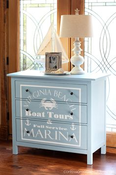 Nautical painted dresser, perfect for a boy's room from confessionsofaserialdiyer.com