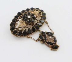 Victorian 14K Gold Whitby Jet Seed Pearl Mourning Brooch Pin Fine Antique Jewelry