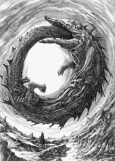 The Ouroboros is an ancient symbol depicting a serpent or dragon eating its own tail. The Ouroboros represents the perpetual cyclic renewal of life and infinity, the concept of eternity and the eternal return, and represents the cycle of life, death and rebirth, leading to immortality, as in the phoenix.