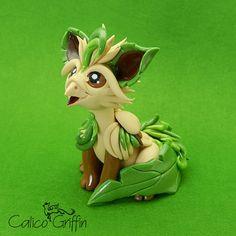 Leaffin the Pokegriff - clay sculpture - Premo Sculpey polymer figurine sculpture dragon gryphon beige green grass