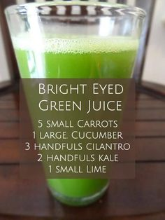 The Bright Eyed Green Juice. This juice has lots of great benefits for the body which will not only help improve your eyesight. but your whole body function as well. Ready to rock this out today? #carrots #cucumber #kale #lime #cilantro