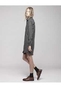 brown shoes, black socks, grey winter tunic