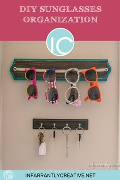 I am notorious for losing my sunglasses. I have a truckload of pairs stashed everywhere in order to make sure I always have a pair. Today I am going to show you a creative way to corral yours sunglasses. We have a pool at our house and sunglasses are a must. I decided to make a DIY sunglass holder that is right at our back door so we can grab them and go. Follow along as I make it now. Diy Storage, Diy Organization, Organizing, Knock Off Decor, Vinyl Crafts, Easy Diy Crafts, Diy Home Improvement, Diy Wood Projects, Diy Home Decor