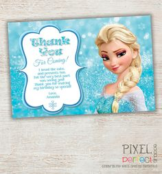 Frozen Thank You Card Frozen Birthday Party by PixelPerfectShoppe, $10.00