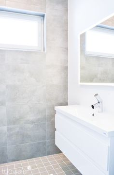 Scandinavian bathroom - white and grey, modern look - interior design: luovisio.fi