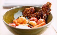Cherry-Apricot Yogurt Sundaes with Maple Granola Brittle (http://www.gourmet.com/recipes/2000s/2005/07/maplegranolabrittle)