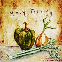 The Holy Trinity is bell pepper, onion and celery and it's a necessity in Cajun cooking!