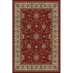Threadbind Jewel Voysey Red Floral Area Rug Rug Size: