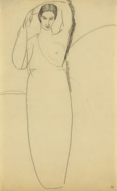 Modigliani Standing Woman, Left Breast bared c.1911      Black crayon; 43 x 26.5 cms; 17 x 10 ½ inches.                                                                                 Stamped with the Paul Alexandre collection mark.