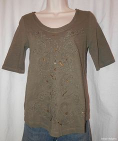 MEADOW RUE TOP S Small NEW French Knot Scoopneck Moss Green NWT ANTHROPOLOGIE