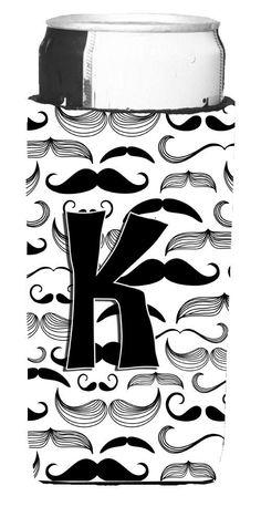 Letter K Moustache Initial Ultra Beverage Insulators for slim cans CJ2009-KMUK
