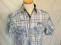 Fender Plaids & Checks Mens Shirt Sz Large White Blue Gray Short Sleeves | eBay