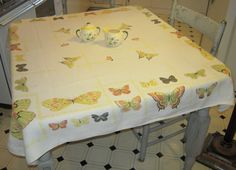 Vintage Tablecloth Colorful Butterflies by unclebunkstrunk on Etsy, $54.99