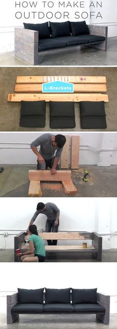 How To Make An Outdoor Sofa DIY Build! – crismary gil How To Make An Outdoor Sofa DIY Build! If you have an outdoor area and you're in a constant search of new outdoor projects every year, you may Diy Sofa, Sofa Sofa, Sofa Pillows, Seat Cushions, Balcony Furniture, Rustic Furniture, Backyard Furniture, Sofa Furniture, Office Furniture