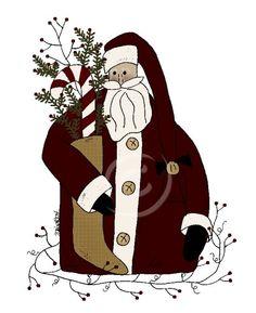 Primitive Primitive Quilts, Primitive Santa, Primitive Stitchery, Primitive Patterns, Primitive Folk Art, Primitive Crafts, Holiday Crafts, Holiday Fun, Primitive Painting