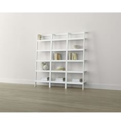 "Sawyer White Leaning 24.5"" Bookcases Set of Three 