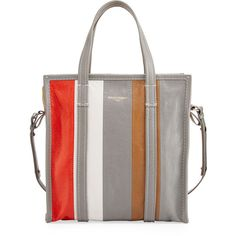 Balenciaga Bazar Small Striped Leather Shopper Tote Bag (73,810 PHP) ❤ liked on Polyvore featuring bags, handbags, tote bags, brown, handbags totes, leather man bags, white tote bag, brown tote bags, zippered tote bag and leather zip tote