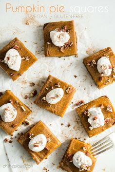 Vegan Pumpkin Pie Squares with Gluten Free Graham Cracker Crust. ☀CQ #GF #glutenfree