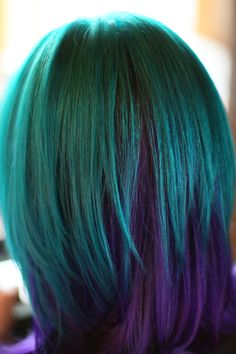 My newest colors, Pravana Green on top, Pravana Purple on bottom. The camera is NOT capturing the full shade of the green, but oh well. :)