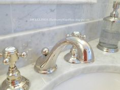 Polished nickel bath fixtures by Rohl Country Bath collection