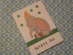 Kort dekoreret med udklip fra gamle børnebøger.