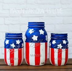 Stars  Stripes Mason Jars - Red White Blue Mason Jars - Memorial Day Mason Jar Craft - Fourth of July Mason Jars