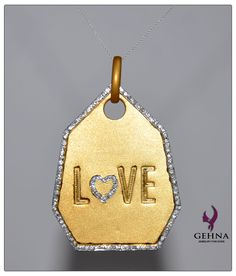 """""""LOVE"""" Pendant Made In Solid Sterling Silver. Yellow Gold Rhodium Polished. to buy contact at - gehnastore@gmail.com"""