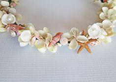 Beach Wedding Flower CrownSea Shell Flower by HairDoodleDo on Etsy