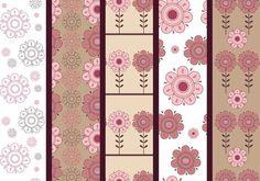 Pink and Brown Floral Illustrator Patterns