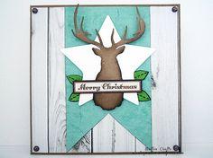Teal and woodgrain Christmas Card
