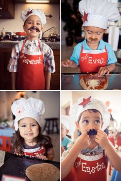 Perfect chef hats and aprons!