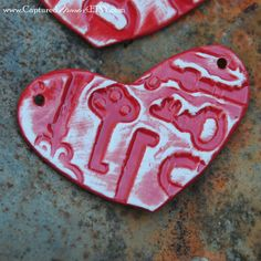 Pottery Heart Pendant or Bead in Red and White by CapturedMoments, $4.25