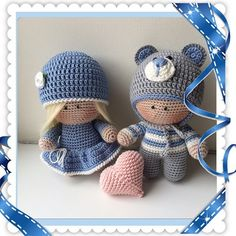 Crochet girl and boy dolls. (Inspiration).                              …