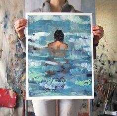 Undertow . large giclee digital art print poster of painting of woman in the ocean. $65,00, via Etsy.