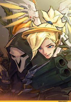 Blizzard,Blizzard Entertainment,фэндомы,Reaper (Overwatch),Overwatch,Mercy (Overwatch),Overwatch art