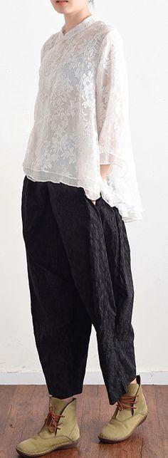 black stylish cotton pants plus size pants