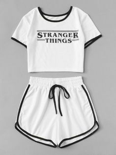 Stranger Things Letter Print Crop Set Pattern: Plain with Letter Color: White Length: Crop Material: Polyester Girls Fashion Clothes, Teen Fashion Outfits, Girl Fashion, Girl Outfits, Cute Lazy Outfits, Crop Top Outfits, Cute Pajama Sets, Cute Sleepwear, Mode Kpop